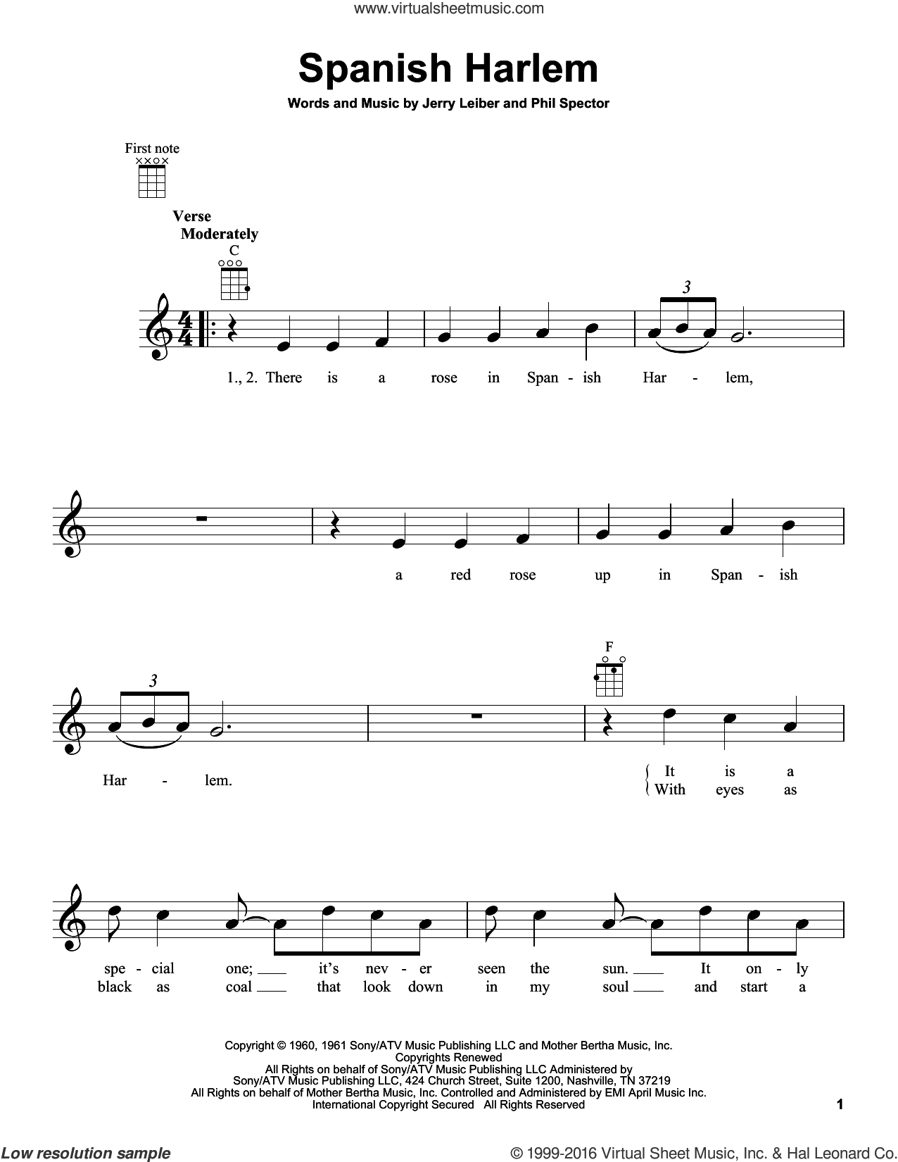 Spanish Harlem sheet music for ukulele by Phil Spector, Aretha Franklin, Ben E. King and Jerry Leiber. Score Image Preview.