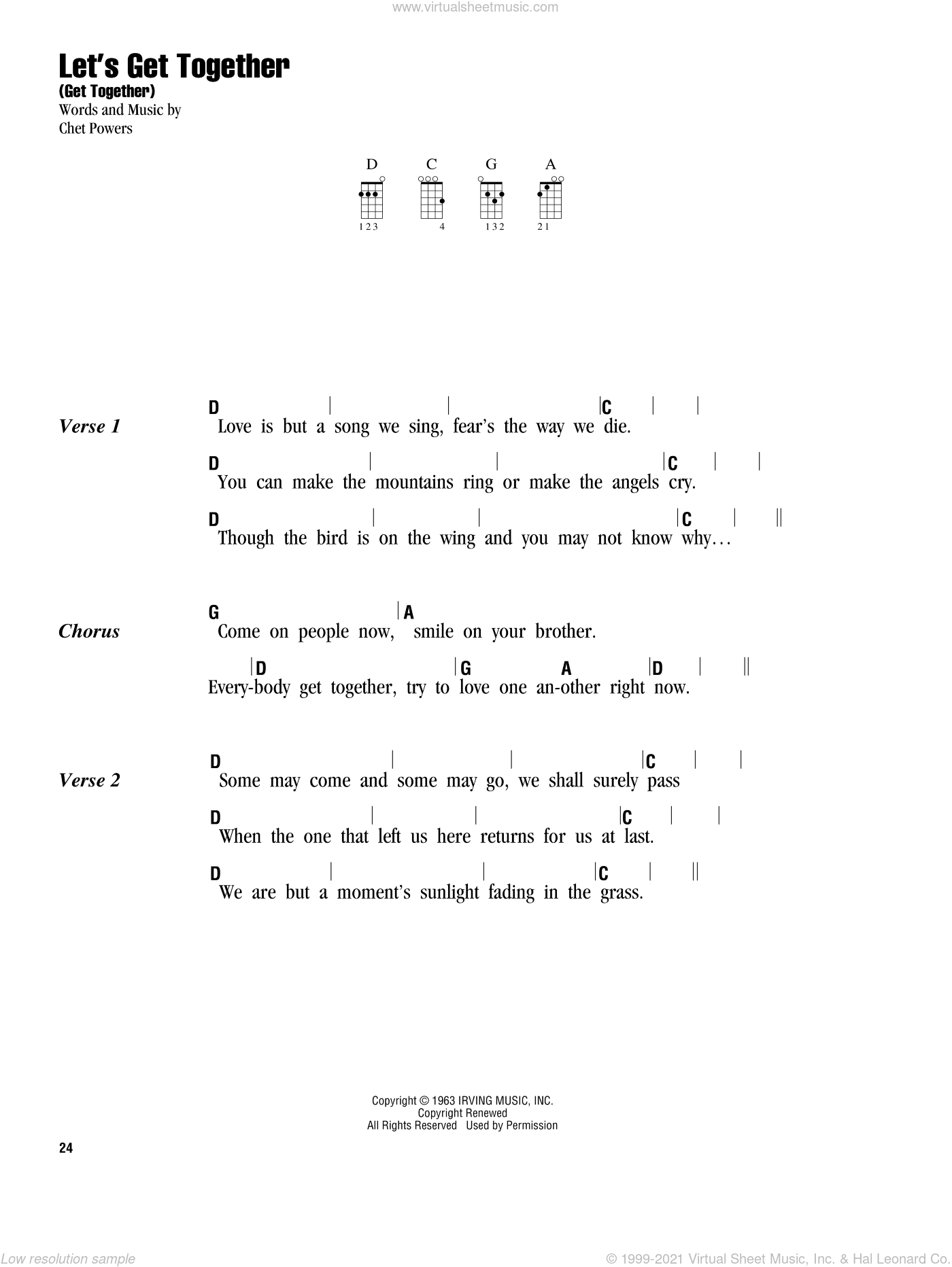Let's Get Together (Get Together) sheet music for ukulele (chords) by The Youngbloods and Chet Powers. Score Image Preview.
