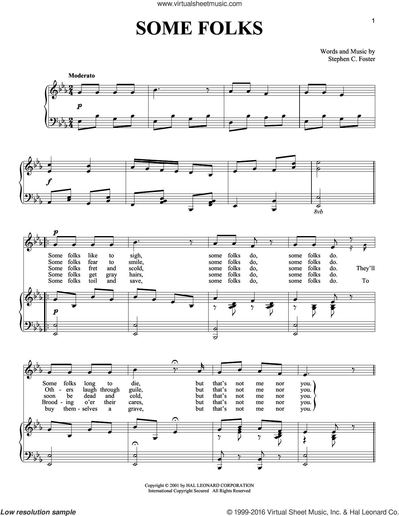 Some Folks sheet music for voice and piano by Stephen Foster. Score Image Preview.