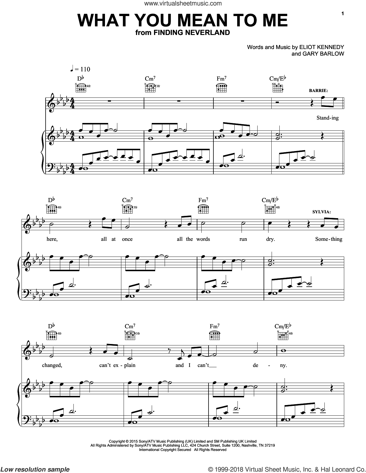 What You Mean To Me sheet music for voice, piano or guitar by Gary Barlow & Eliot Kennedy, Eliot Kennedy, ELIOT KENNEDY and Gary Barlow, intermediate skill level