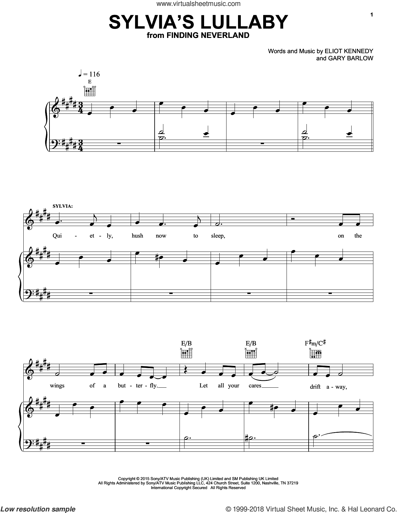 Sylvia's Lullaby sheet music for voice, piano or guitar by Gary Barlow & Eliot Kennedy, ELIOT KENNEDY and Gary Barlow, intermediate voice, piano or guitar. Score Image Preview.