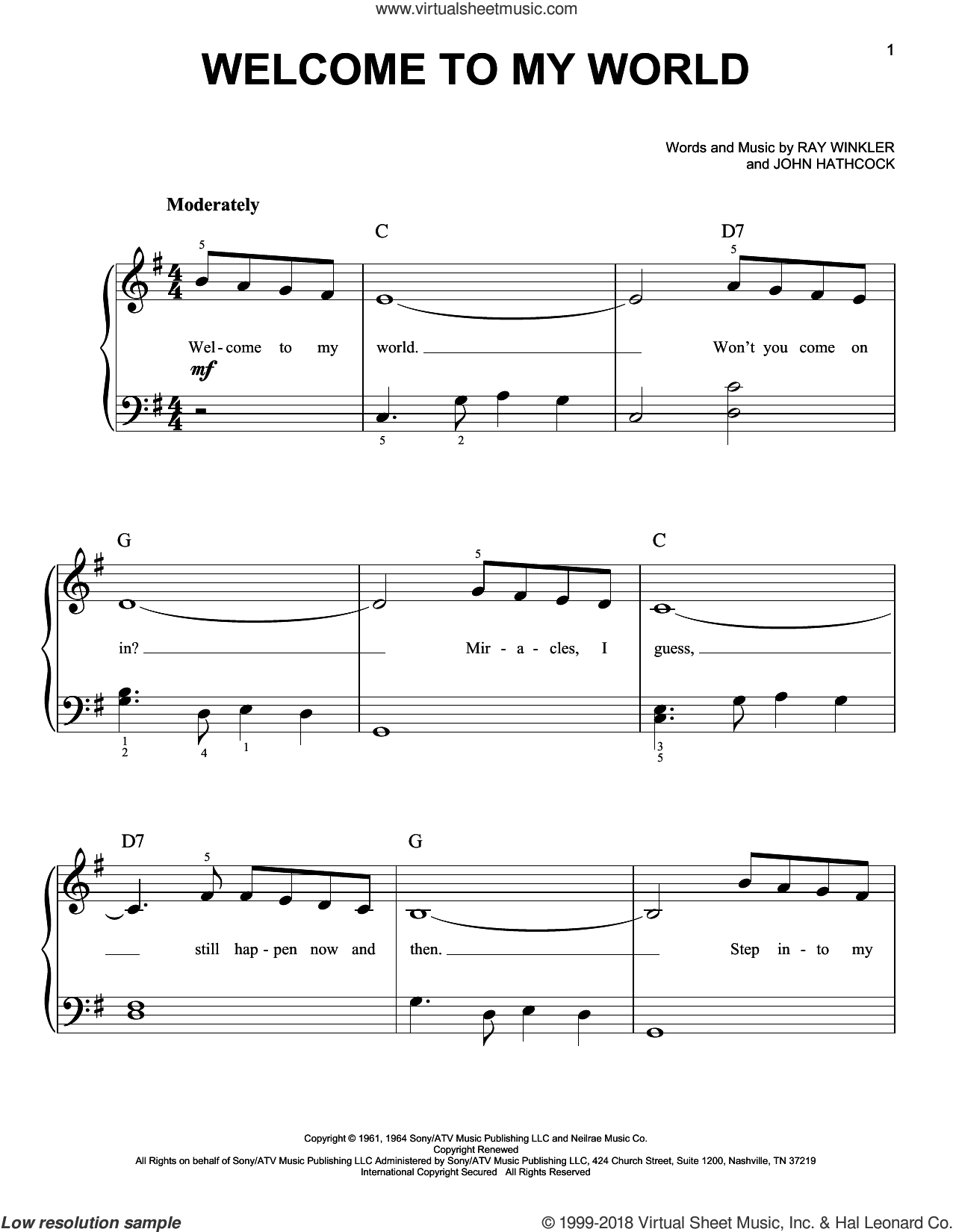 Welcome To My World sheet music for piano solo by Ray Winkler