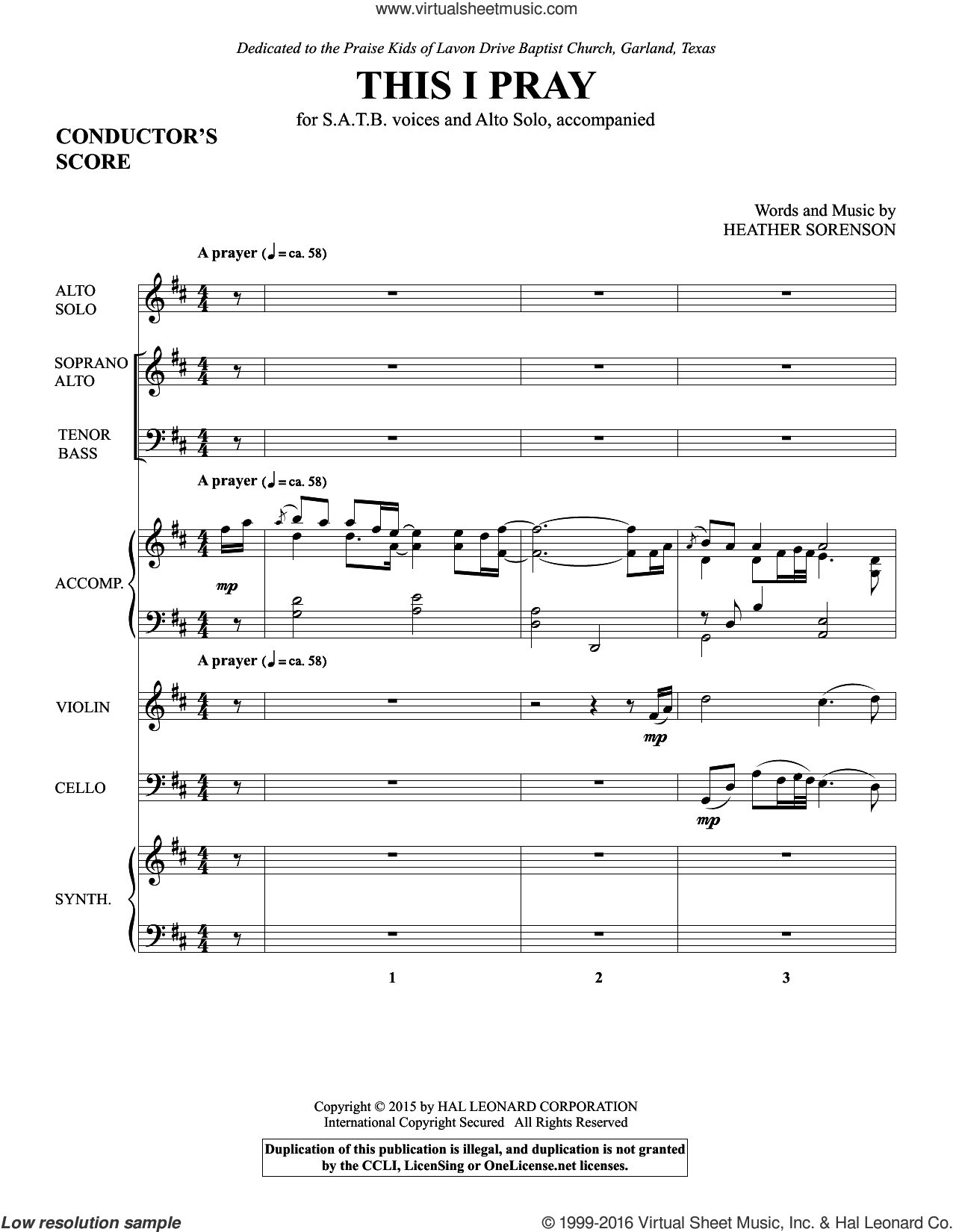 This I Pray (COMPLETE) sheet music for orchestra by Heather Sorenson. Score Image Preview.