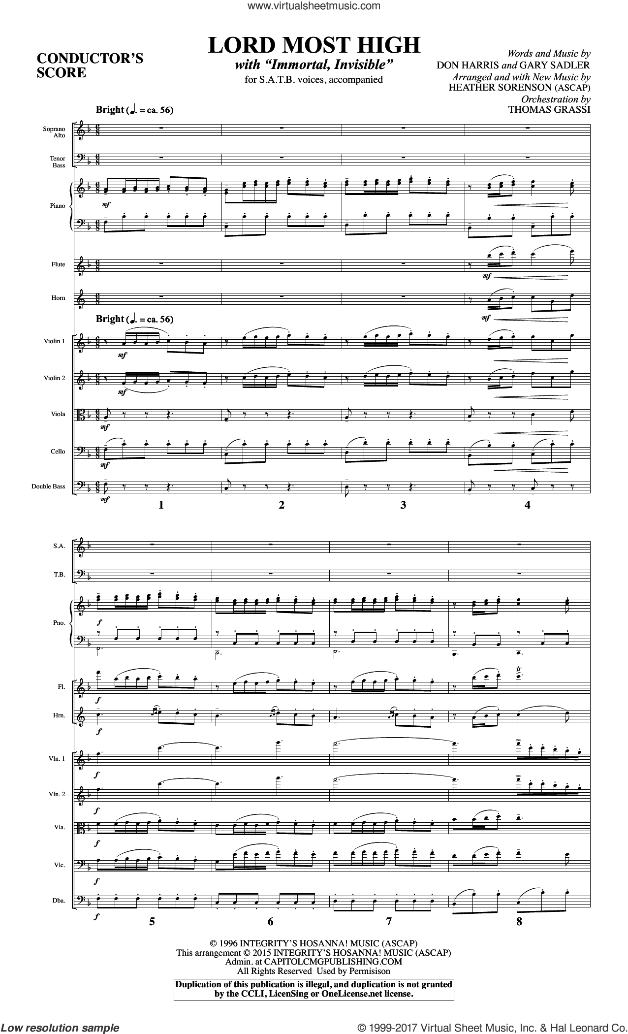 Lord Most High (COMPLETE) sheet music for orchestra/band by Heather Sorenson, Miscellaneous and Walter Chalmers Smith, intermediate skill level