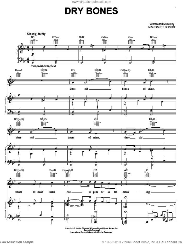 Dry Bones sheet music for voice, piano or guitar by Margaret Bonds. Score Image Preview.