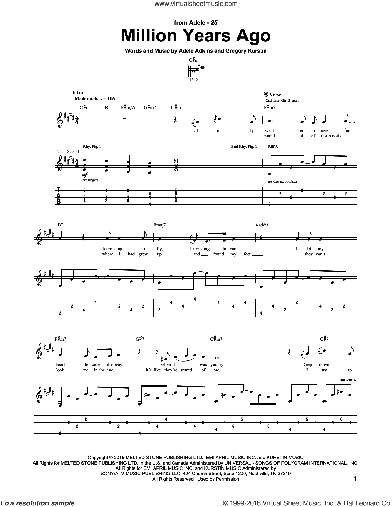 Million Years Ago sheet music for guitar (tablature) by Adele, intermediate guitar (tablature). Score Image Preview.