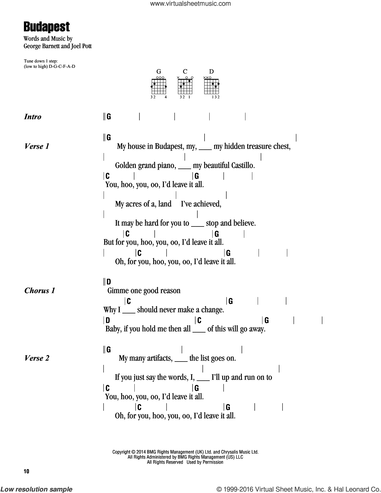 Ezra - Budapest sheet music for guitar (chords) [PDF]