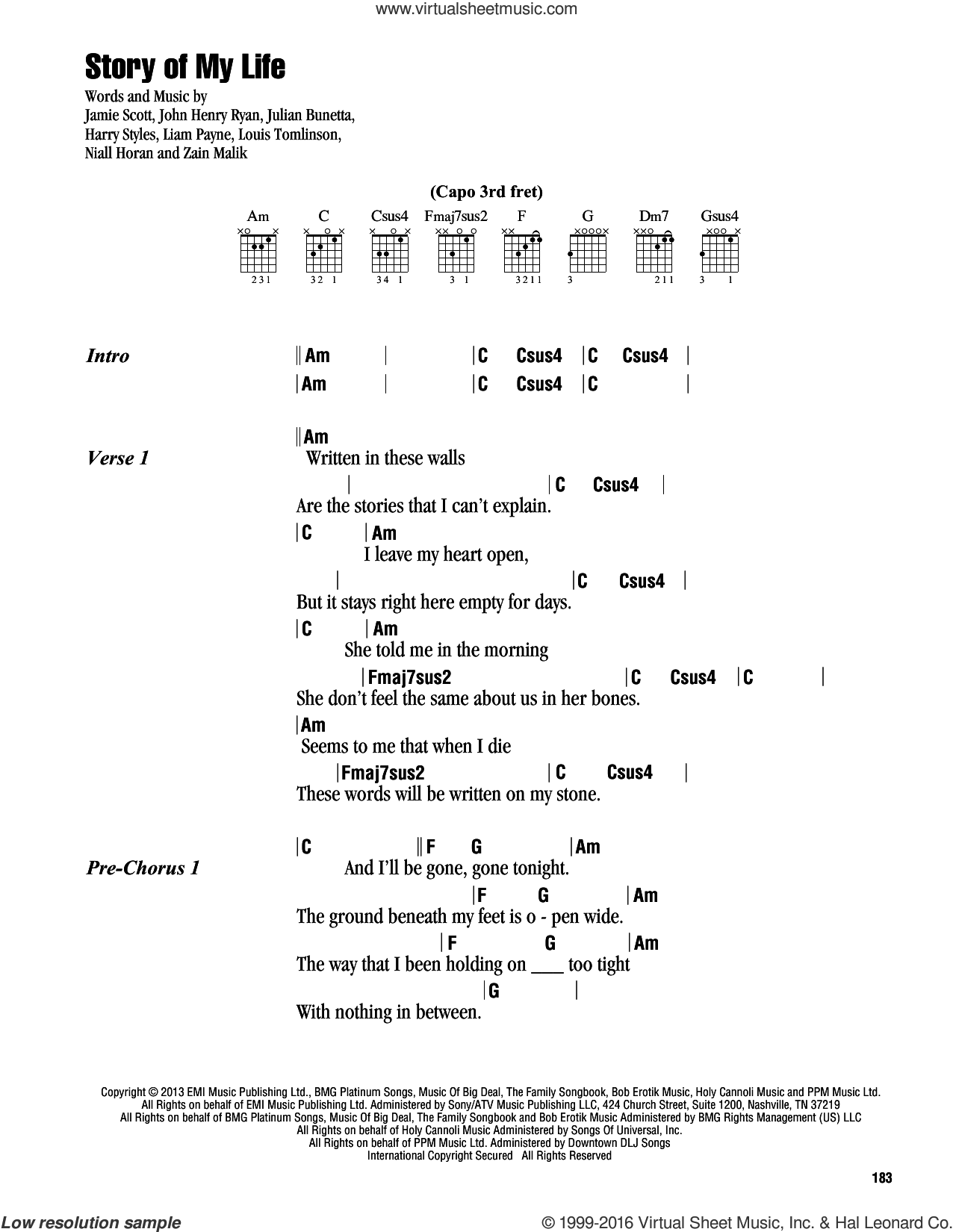 Story Of My Life sheet music for guitar (chords) by Zain Malik, One Direction, Harry Styles, Jamie Scott, Julian Bunetta, Louis Tomlinson and Niall Horan. Score Image Preview.
