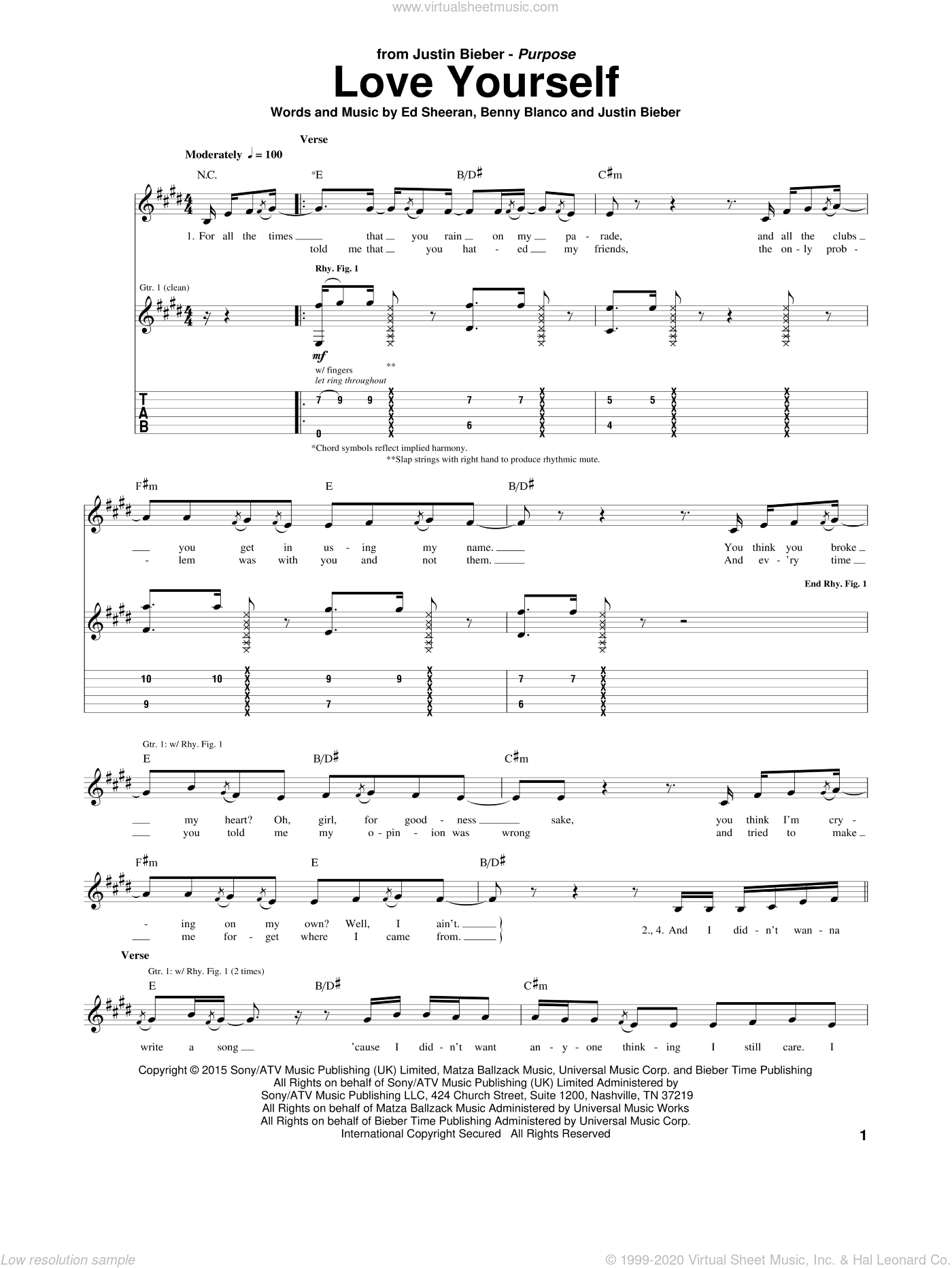 Love Yourself sheet music for guitar (tablature) by Justin Bieber, Benny Blanco and Ed Sheeran, intermediate skill level