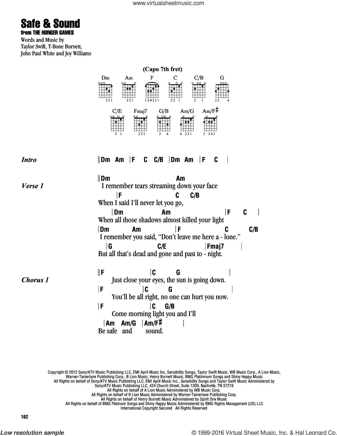 Safe and Sound sheet music for guitar (chords) by Taylor Swift featuring The Civil Wars, Joy Williams and Taylor Swift, intermediate. Score Image Preview.