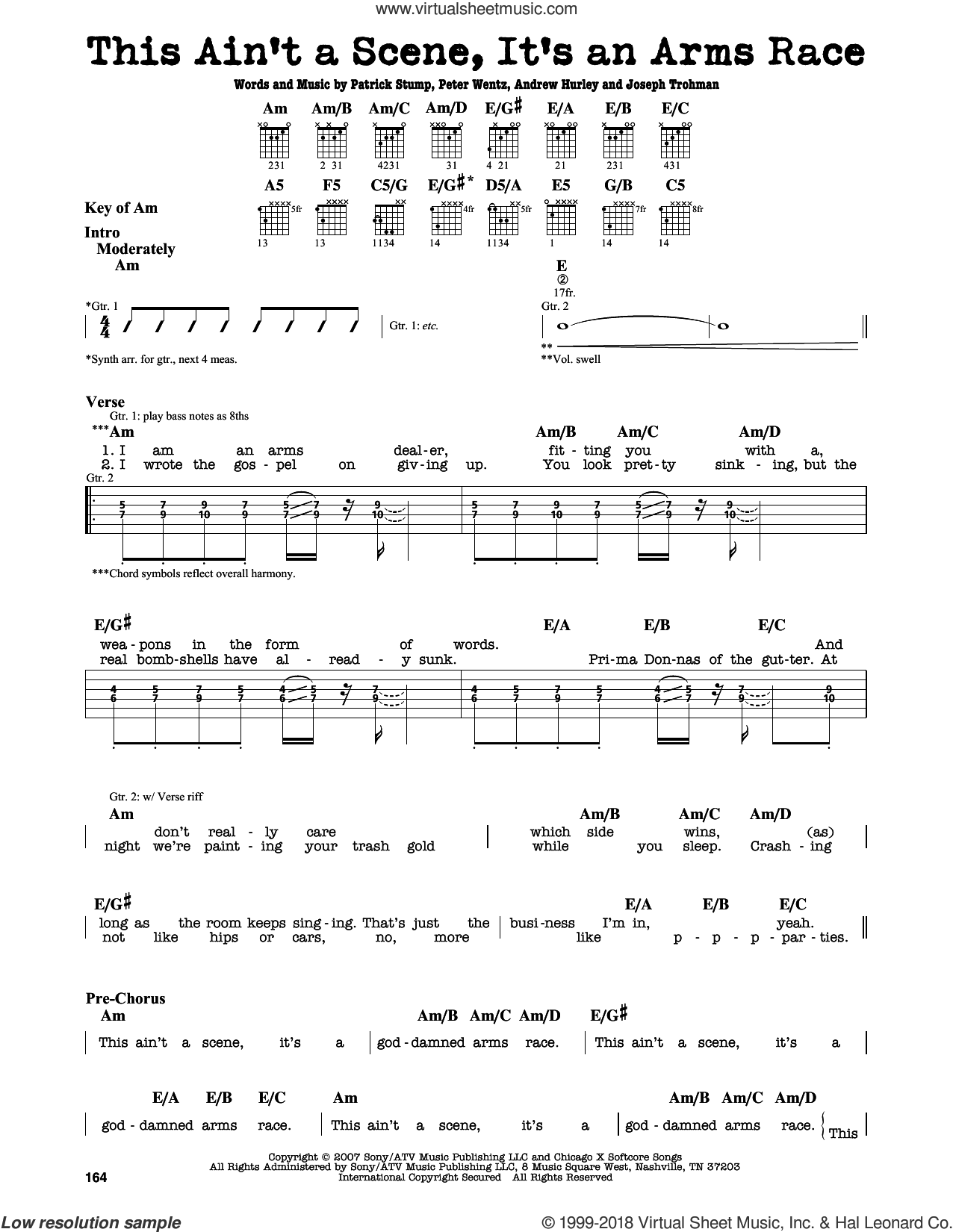 This Ain't A Scene, It's An Arms Race sheet music for guitar solo (lead sheet) by Fall Out Boy, intermediate guitar (lead sheet). Score Image Preview.