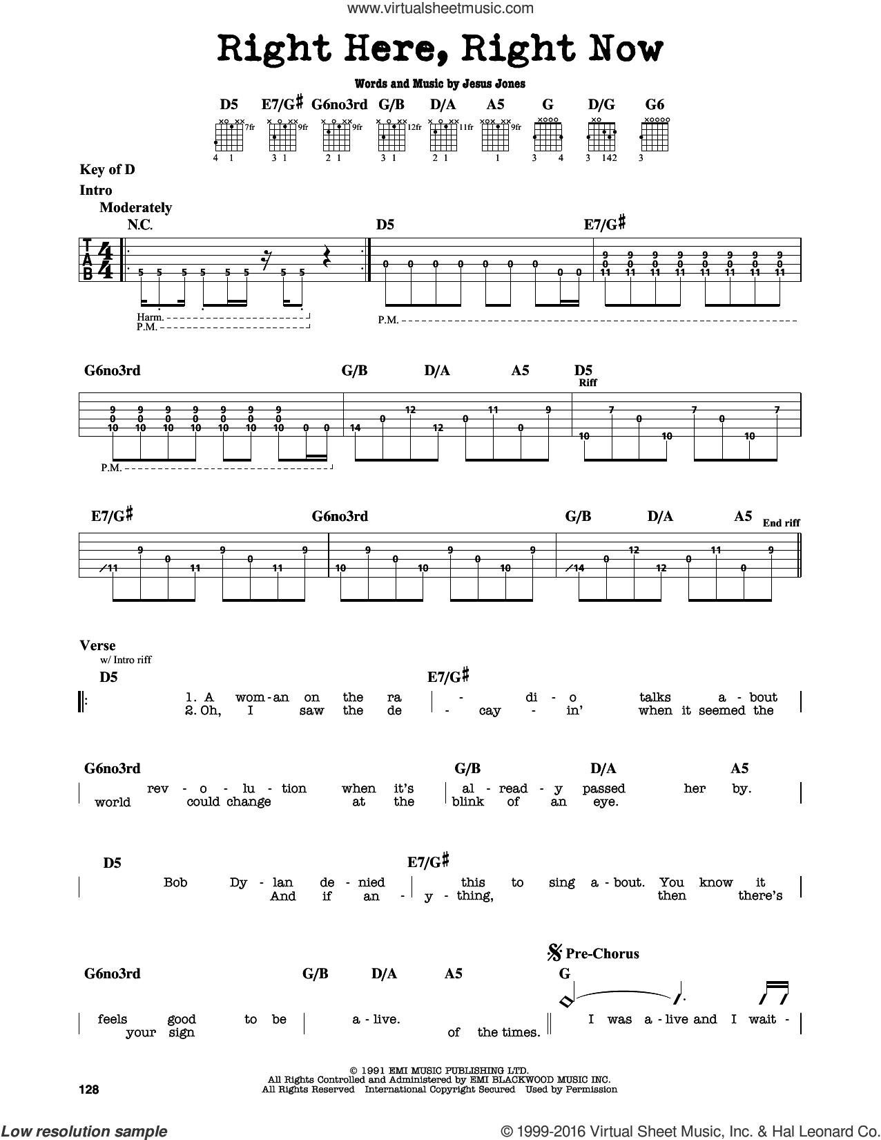 Right Here, Right Now sheet music for guitar solo (lead sheet) by Jesus Jones, intermediate guitar (lead sheet)