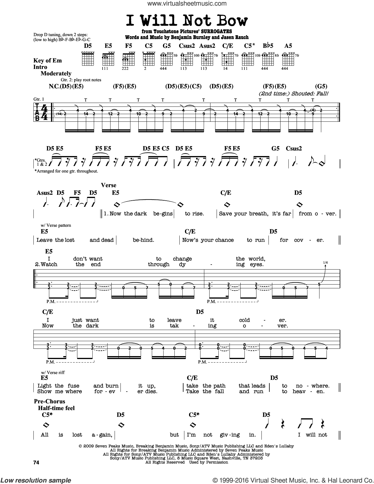 I Will Not Bow sheet music for guitar solo (lead sheet) by Jasen Rauch and Benjamin Burnley. Score Image Preview.