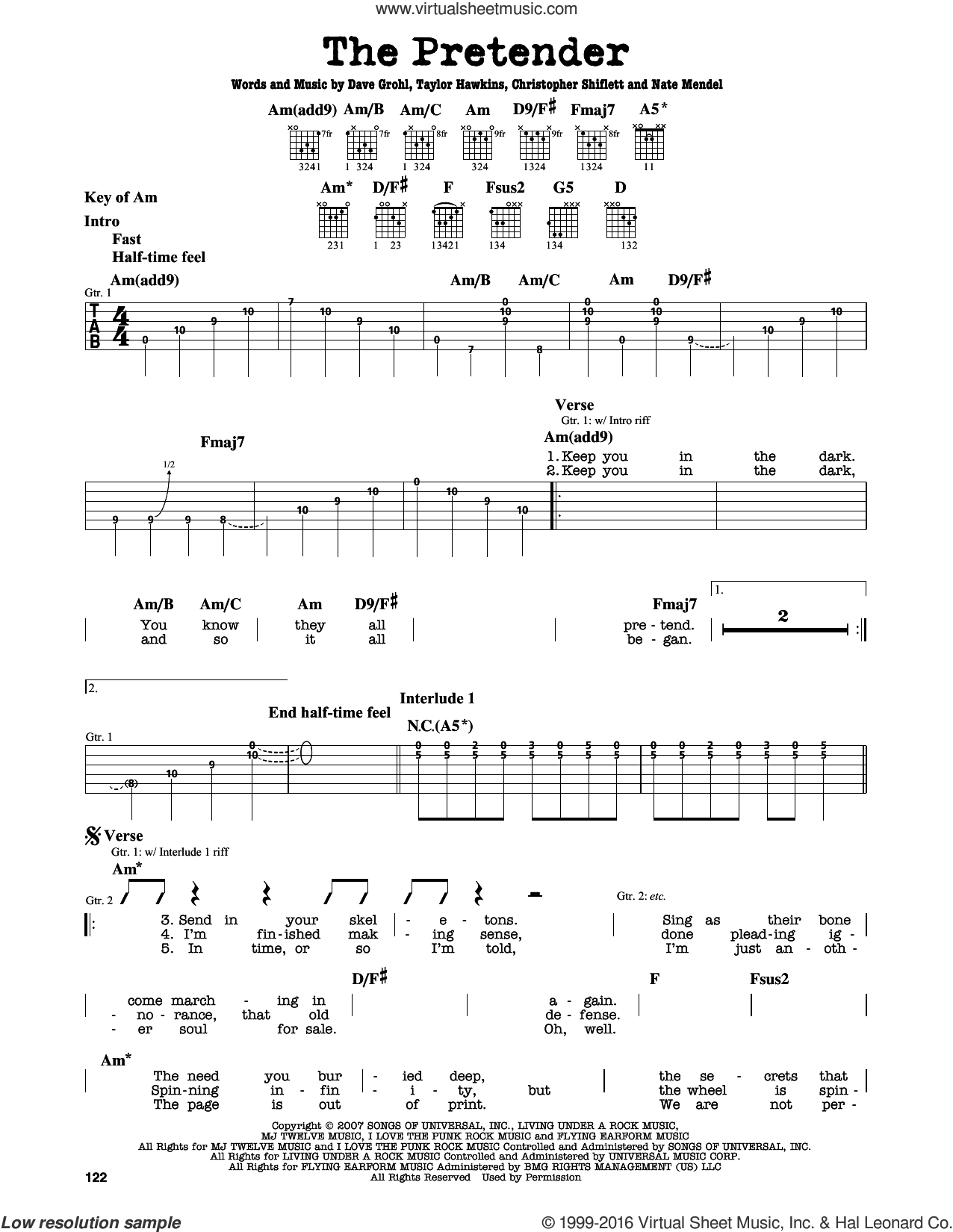 The Pretender sheet music for guitar solo (lead sheet) by Foo Fighters, Christopher Shiflett, Dave Grohl, Nate Mendel and Taylor Hawkins, intermediate guitar (lead sheet)