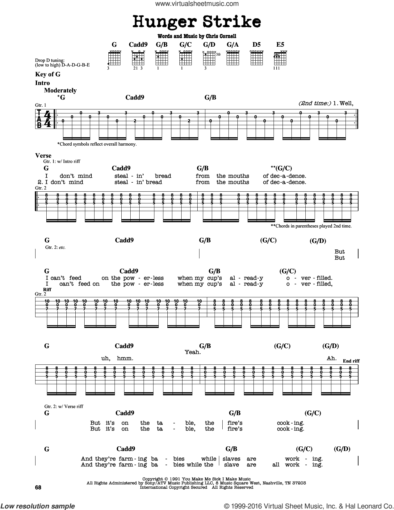 Hunger Strike sheet music for guitar solo (lead sheet) by Chris Cornell. Score Image Preview.