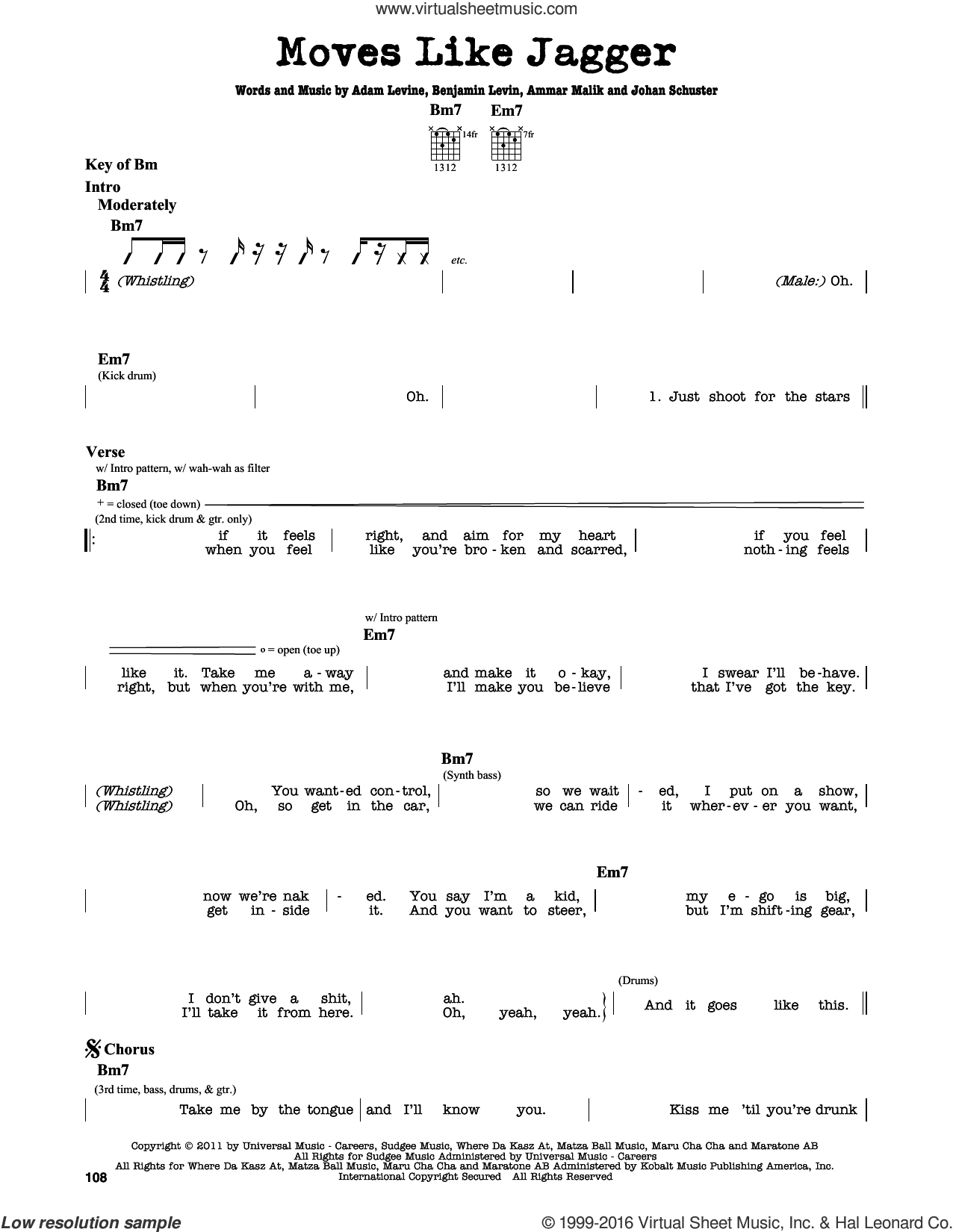 Moves Like Jagger sheet music for guitar solo (lead sheet) by Maroon 5 featuring Christina Aguilera, Adam Levine, Ammar Malik, Benjamin Levin and Johan Schuster, intermediate guitar (lead sheet)