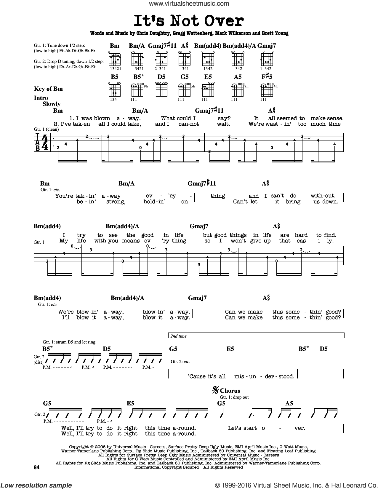 It's Not Over sheet music for guitar solo (lead sheet) by Mark Wilkerson, Daughtry, Chris Daughtry and Gregg Wattenberg. Score Image Preview.