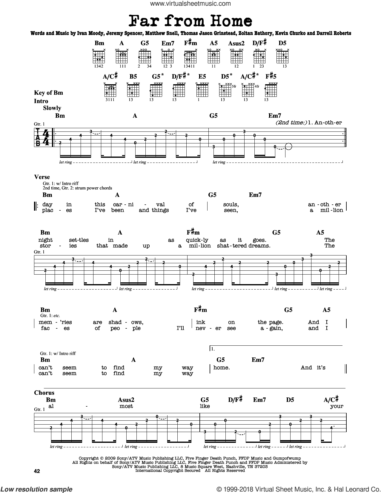 Far From Home sheet music for guitar solo (lead sheet) by Five Finger Death Punch, Darrell Roberts, Ivan Moody, Jason Hook, Jeremy Spencer, Kevin Churko, Matthew Snell and Zoltan Bathory, intermediate guitar (lead sheet). Score Image Preview.