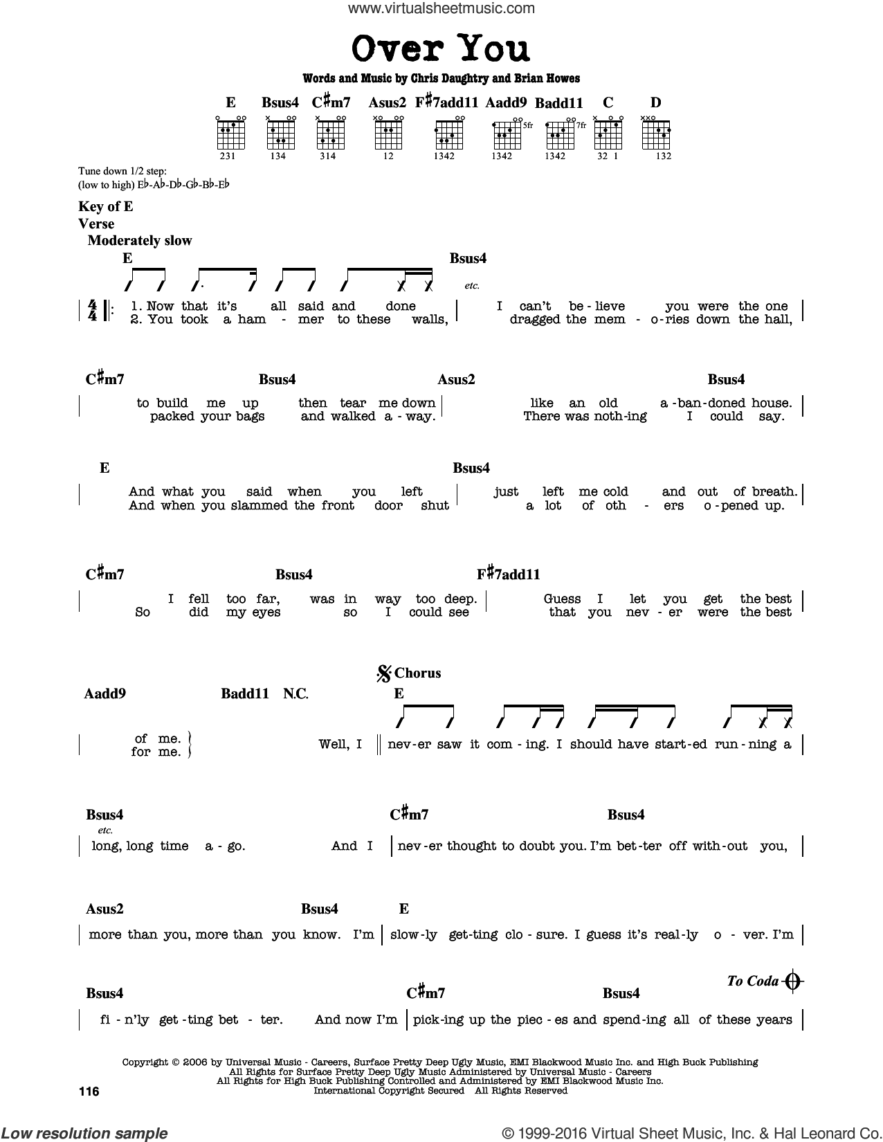 Over You sheet music for guitar solo (lead sheet) by Daughtry, Brian Howes and Chris Daughtry. Score Image Preview.