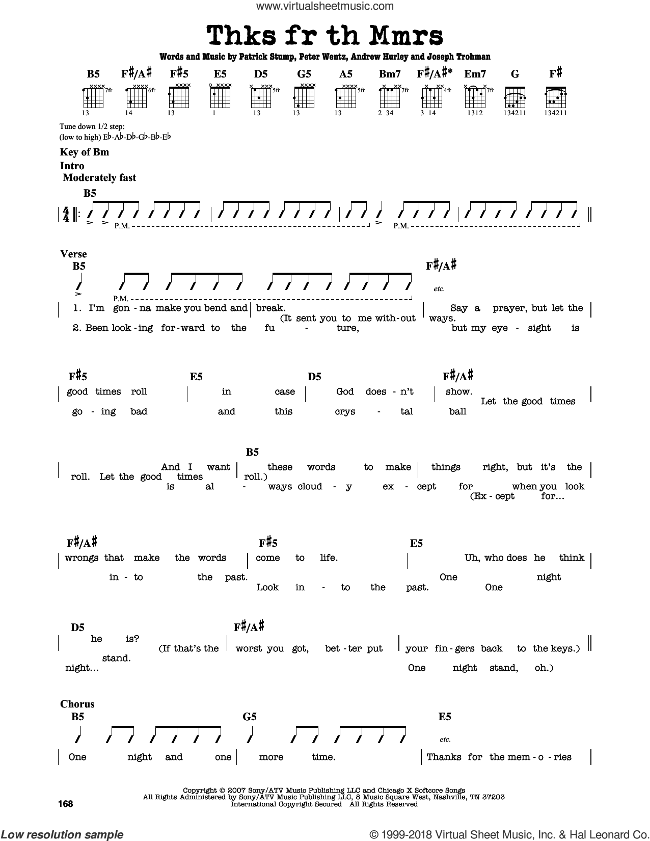 Thnks Fr Th Mmrs sheet music for guitar solo (lead sheet) by Fall Out Boy, Andrew Hurley, Joseph Trohman, Patrick Stump and Peter Wentz, intermediate guitar (lead sheet)