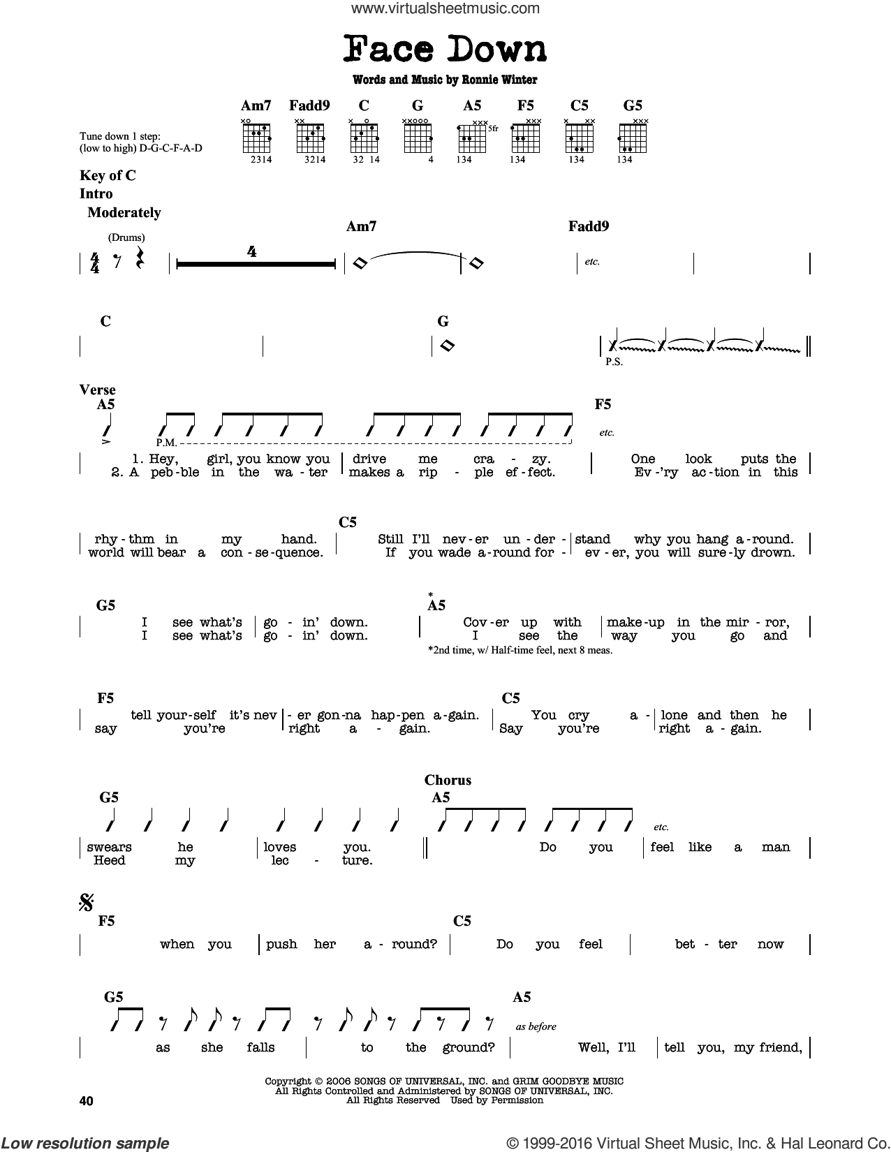 Face Down sheet music for guitar solo (lead sheet) by The Red Jumpsuit Apparatus and Ronnie Winter, intermediate guitar (lead sheet)