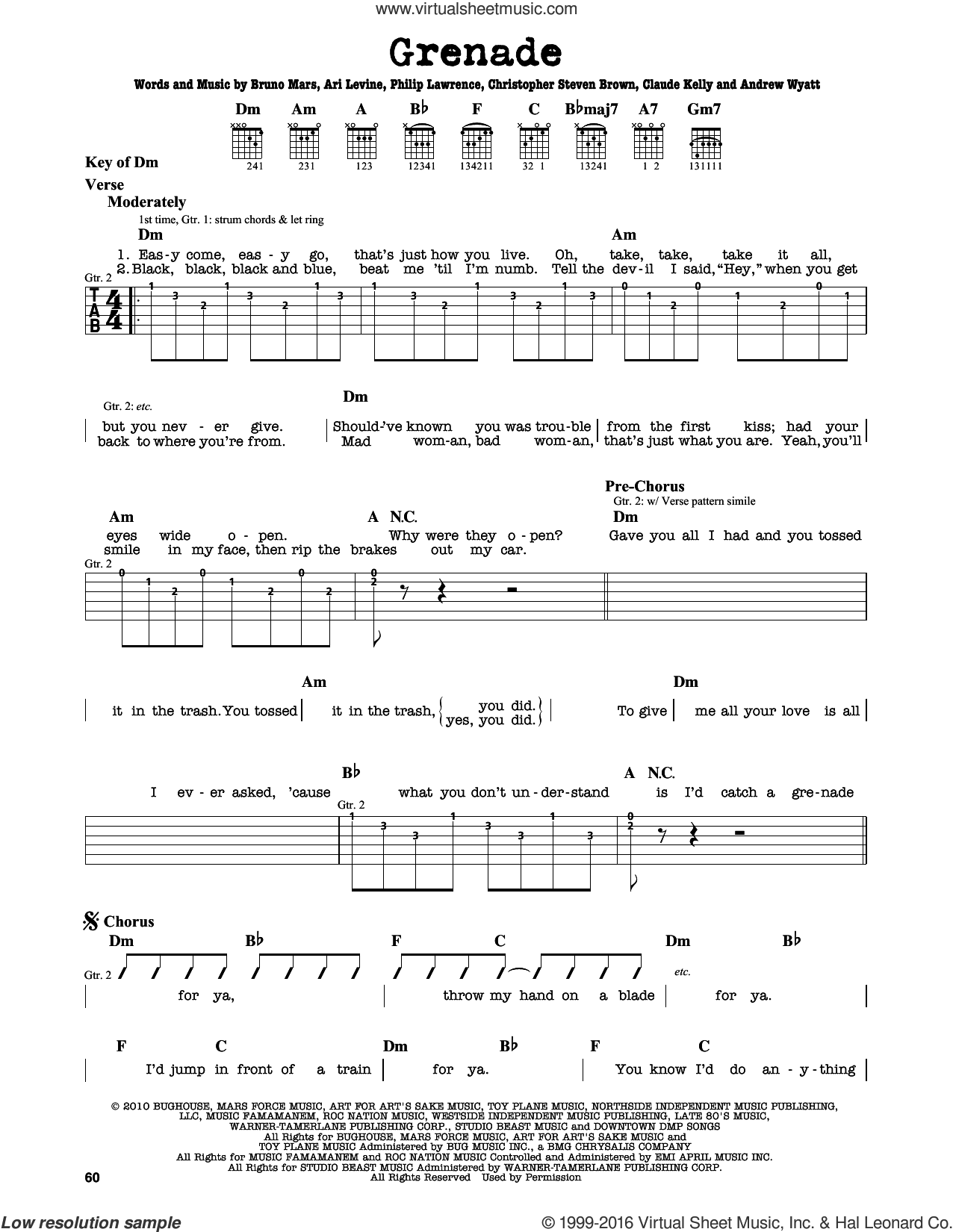 Grenade sheet music for guitar solo (lead sheet) by Philip Lawrence, Andrew Wyatt, Ari Levine, Brody Brown, Bruno Mars and Claude Kelly. Score Image Preview.