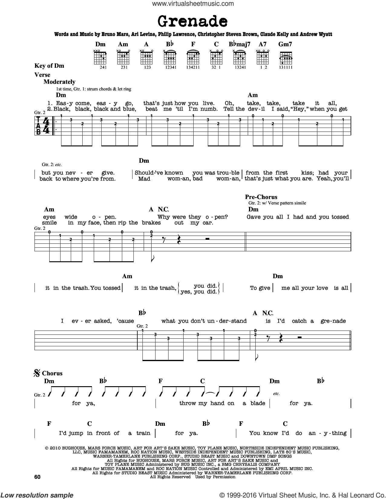 Grenade sheet music for guitar solo (lead sheet) by Bruno Mars, Andrew Wyatt, Ari Levine, Brody Brown, Claude Kelly and Philip Lawrence, intermediate guitar (lead sheet)