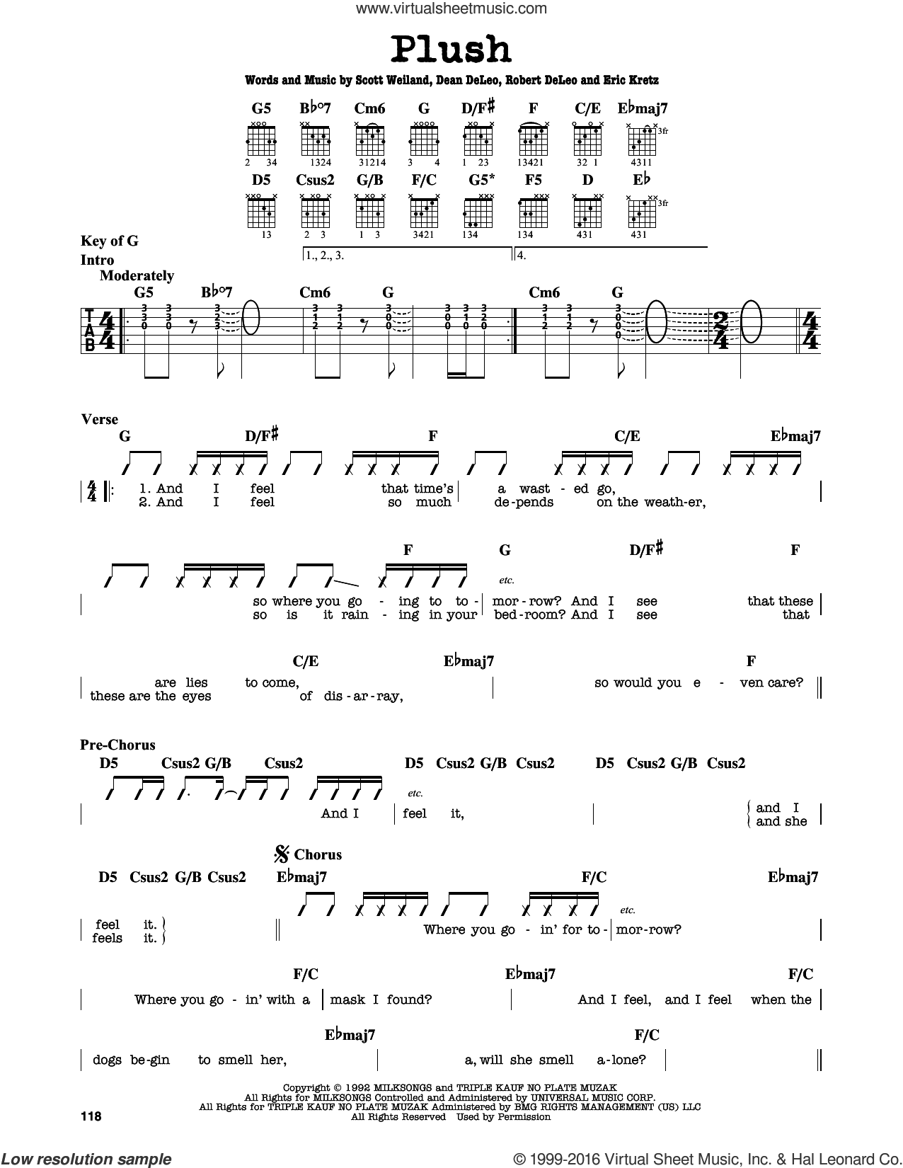 Plush sheet music for guitar solo (lead sheet) by Scott Weiland. Score Image Preview.