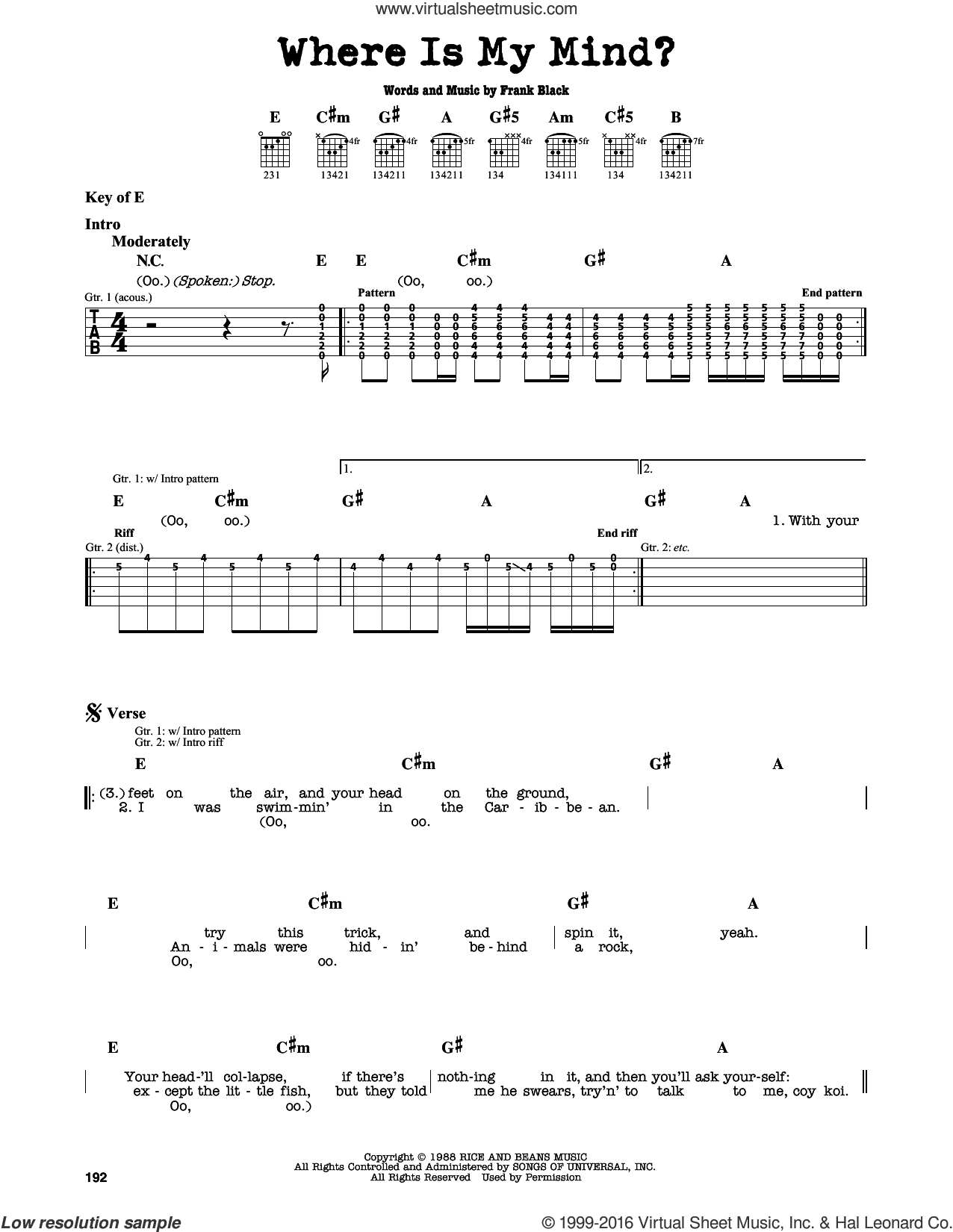 Where Is My Mind? sheet music for guitar solo (lead sheet) by Francis Black. Score Image Preview.