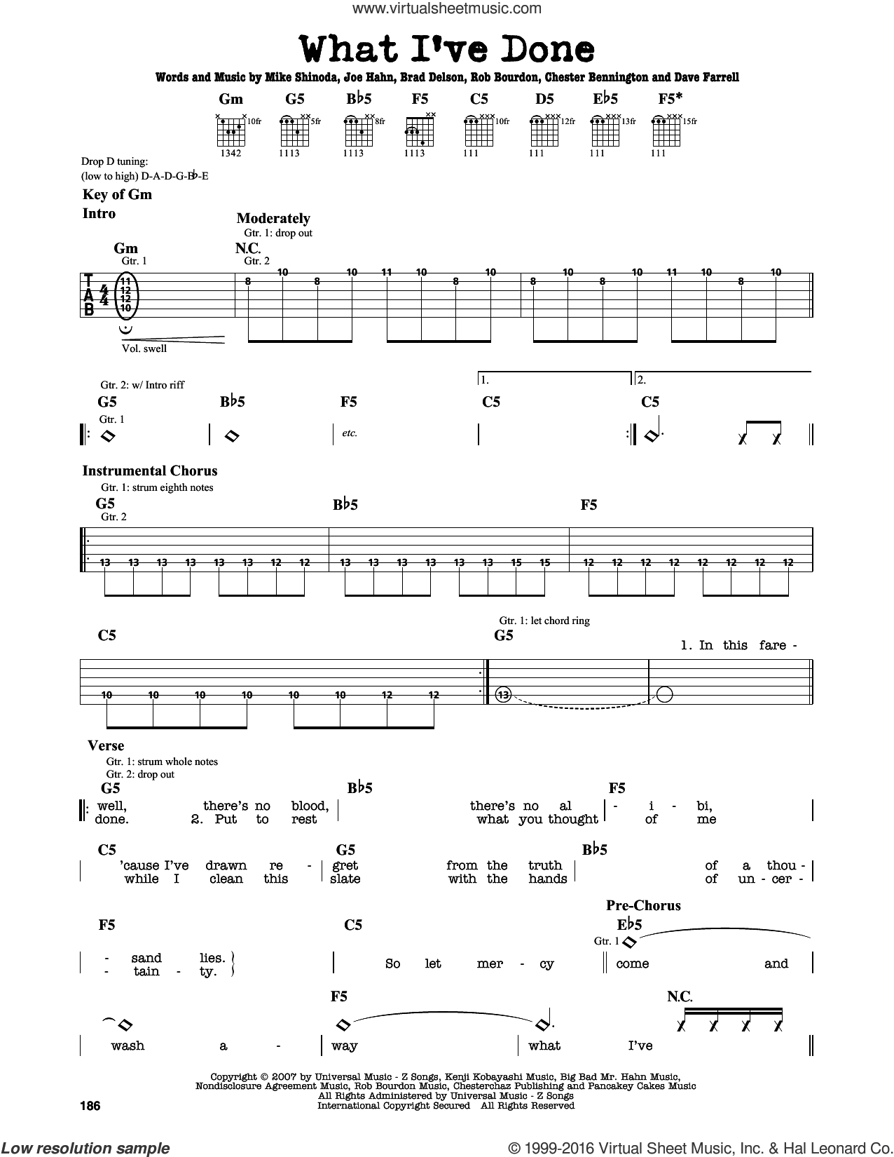 What I've Done sheet music for guitar solo (lead sheet) by Rob Bourdon, Linkin Park, Brad Delson and Mike Shinoda. Score Image Preview.