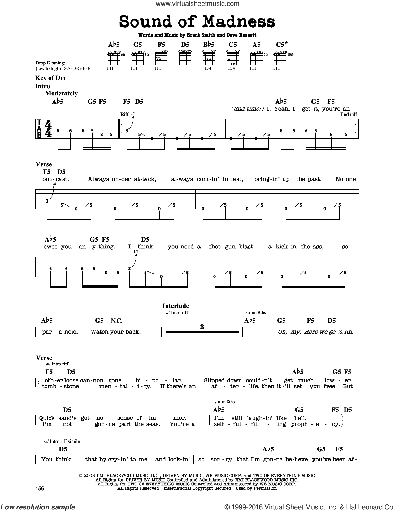Sound Of Madness sheet music for guitar solo (lead sheet) by Shinedown, Brent Smith and Dave Bassett, intermediate guitar (lead sheet)