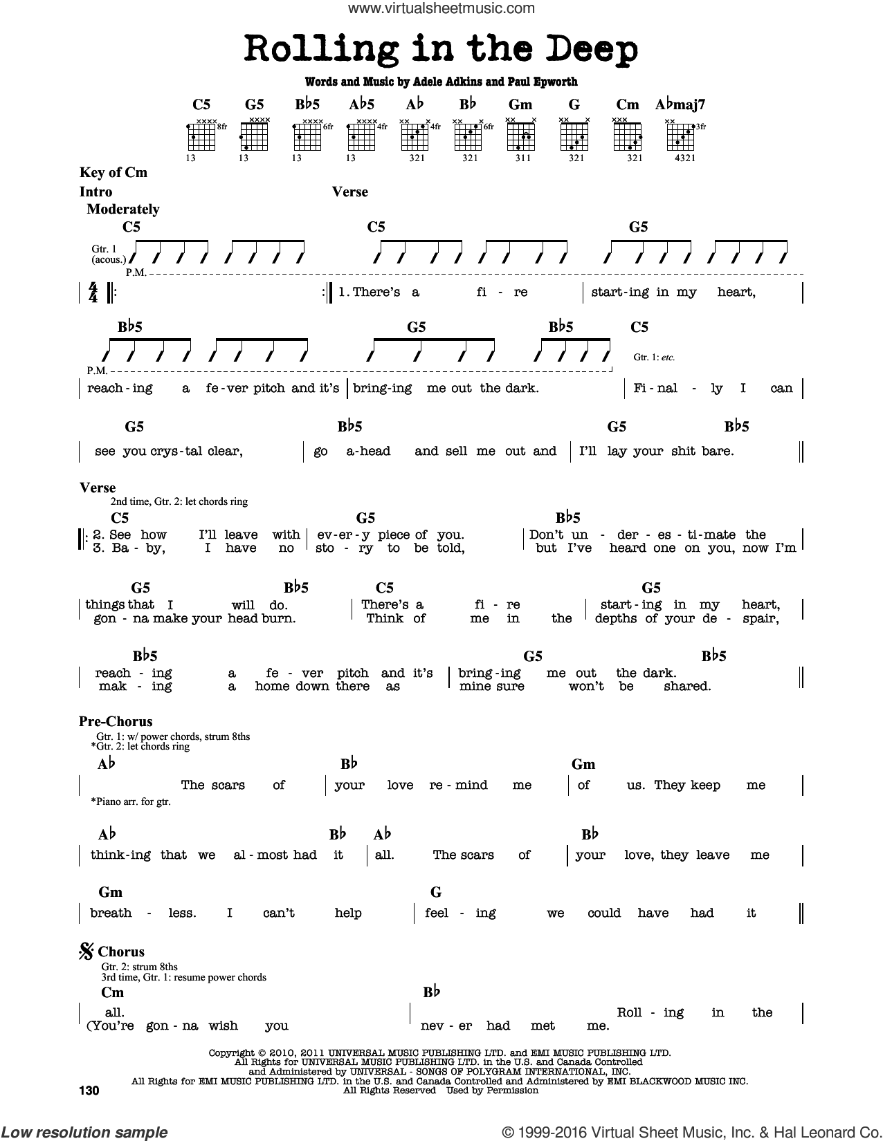 Rolling In The Deep sheet music for guitar solo (lead sheet) by Adele and Paul Epworth, intermediate guitar (lead sheet). Score Image Preview.