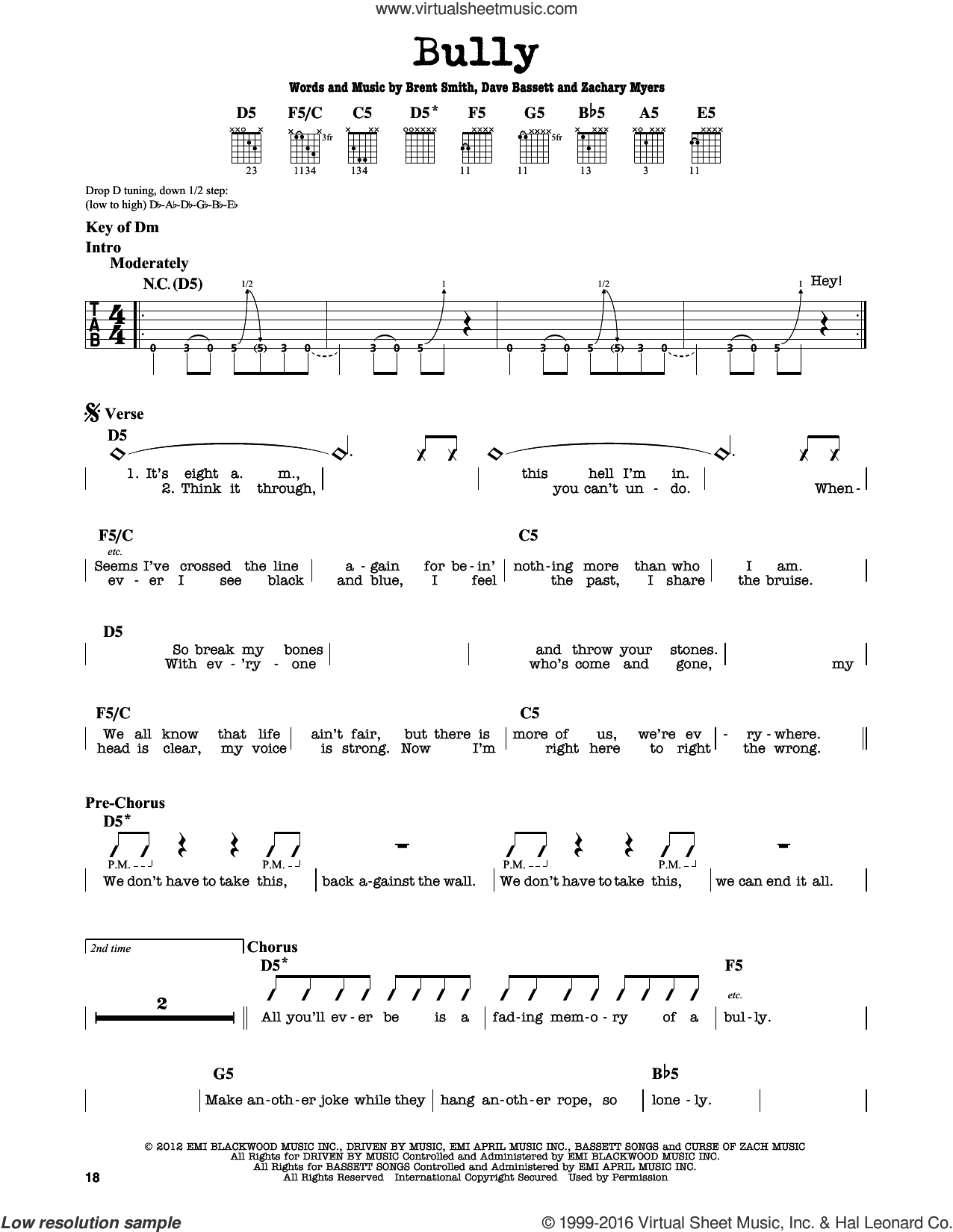 Bully sheet music for guitar solo (lead sheet) by Shinedown, Brent Smith, Dave Bassett and Zachary Myers, intermediate guitar (lead sheet)