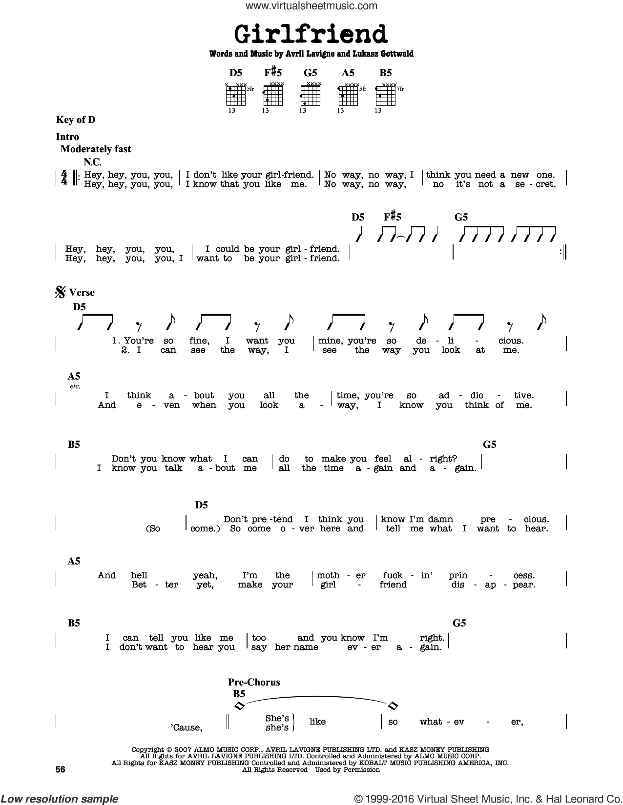 Girlfriend sheet music for guitar solo (lead sheet) by Lukasz Gottwald and Avril Lavigne. Score Image Preview.
