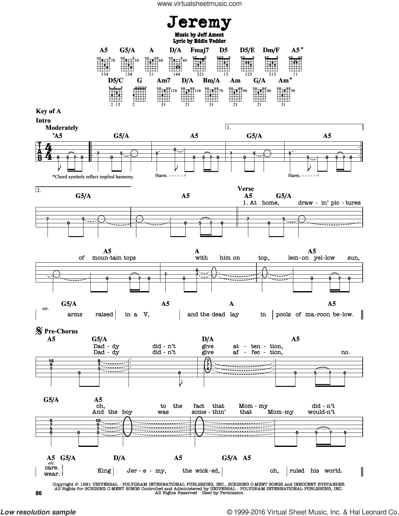 Jeremy sheet music for guitar solo (lead sheet) by Pearl Jam, Eddie Vedder and Jeff Ament, intermediate guitar (lead sheet)