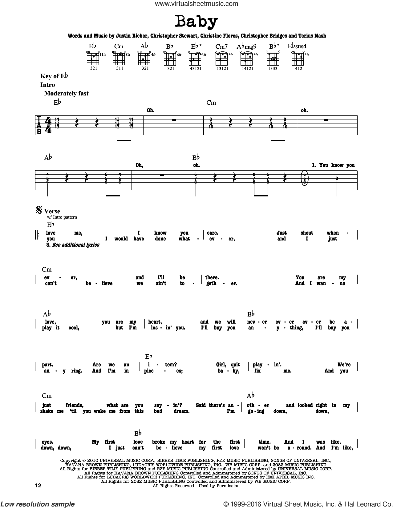 Baby sheet music for guitar solo (lead sheet) by Justin Bieber featuring Ludacris, Christine Flores, Christopher Bridges, Christopher Stewart, Justin Bieber and Terius Nash, intermediate guitar (lead sheet). Score Image Preview.