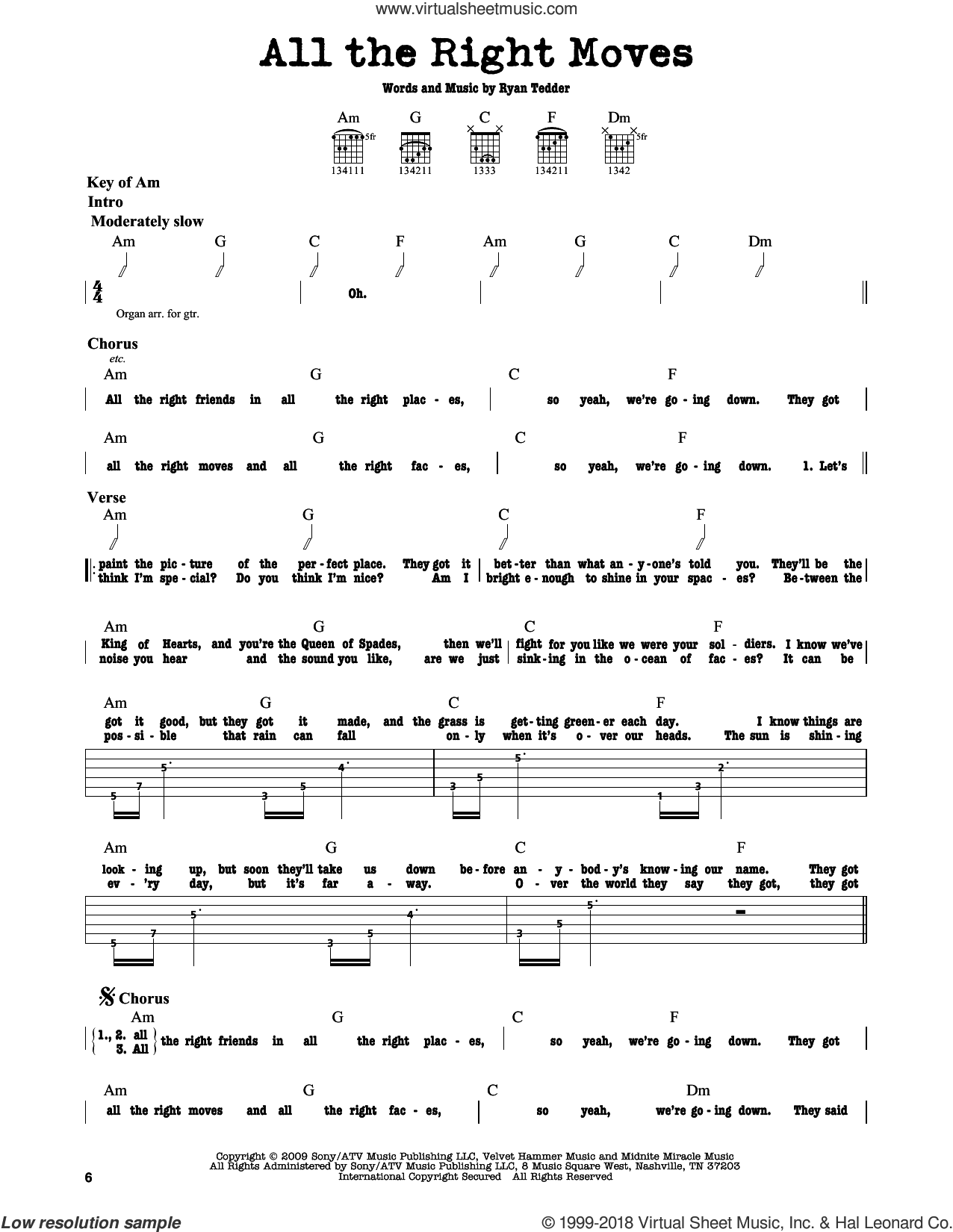 All The Right Moves sheet music for guitar solo (lead sheet) by Ryan Tedder and OneRepublic. Score Image Preview.