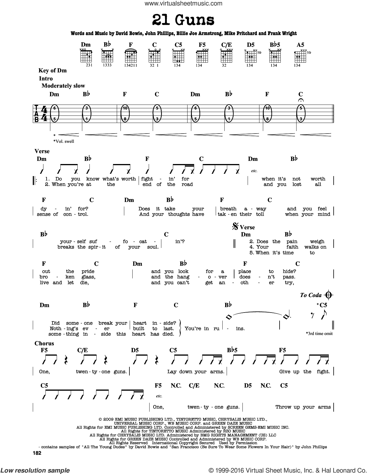 21 Guns sheet music for guitar solo (lead sheet) by John Phillips, Billie Joe and Green Day. Score Image Preview.
