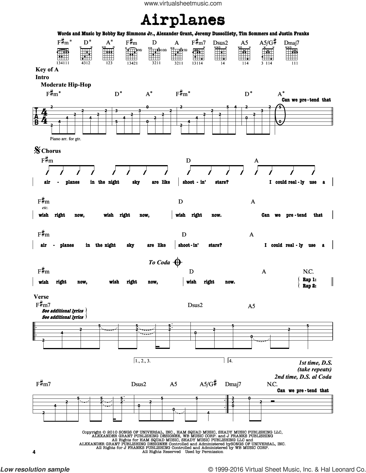 Airplanes sheet music for guitar solo (lead sheet) by B.o.B. featuring Hayley Williams, Jeremy Dussolliet, Justin Franks and Tim Sommers. Score Image Preview.
