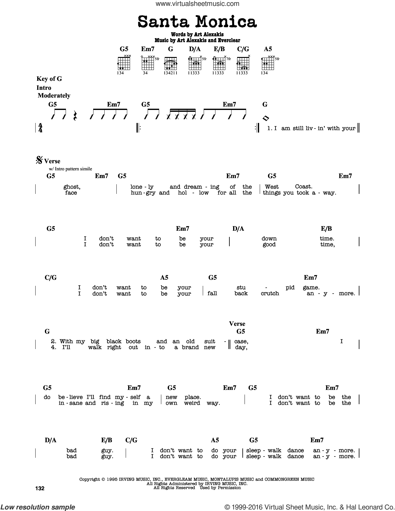 Santa Monica sheet music for guitar solo (lead sheet) by Art Alexakis and Everclear. Score Image Preview.