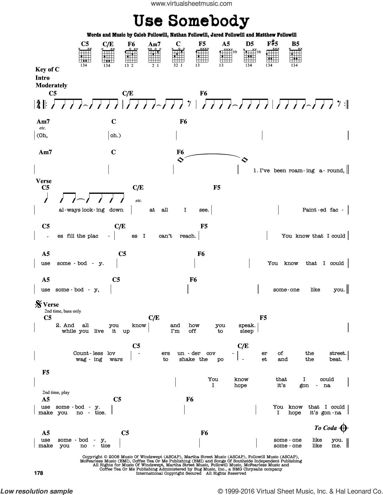 Use Somebody sheet music for guitar solo (lead sheet) by Nathan Followill, Kings Of Leon, Caleb Followill and Matthew Followill. Score Image Preview.