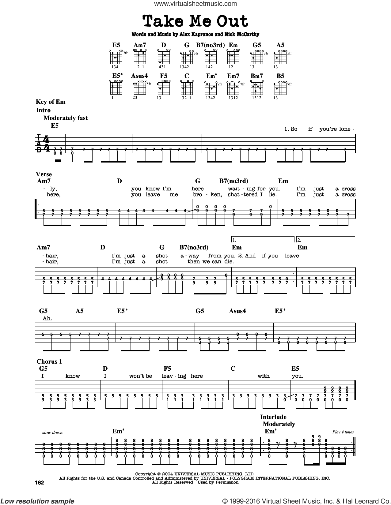 Take Me Out sheet music for guitar solo (lead sheet) by Franz Ferdinand, intermediate guitar (lead sheet). Score Image Preview.