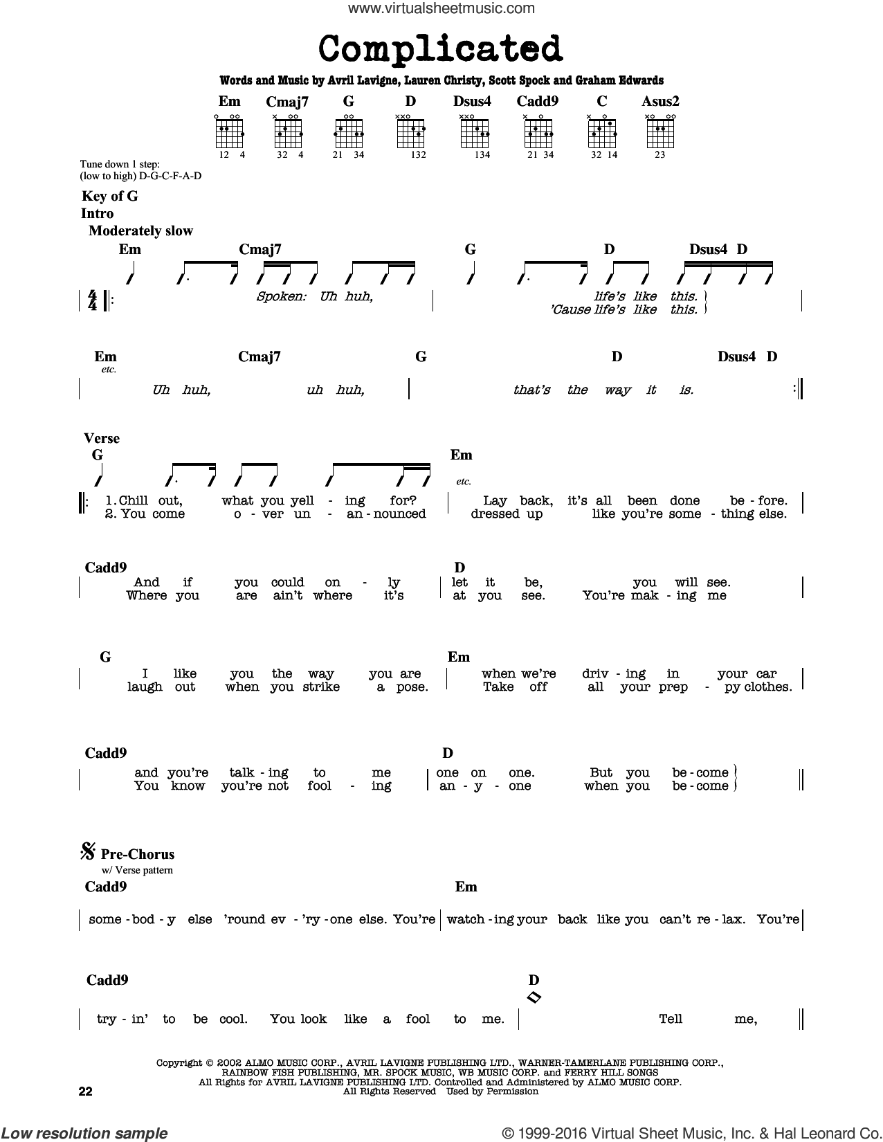 Complicated sheet music for guitar solo (lead sheet) by Avril Lavigne, intermediate guitar (lead sheet). Score Image Preview.