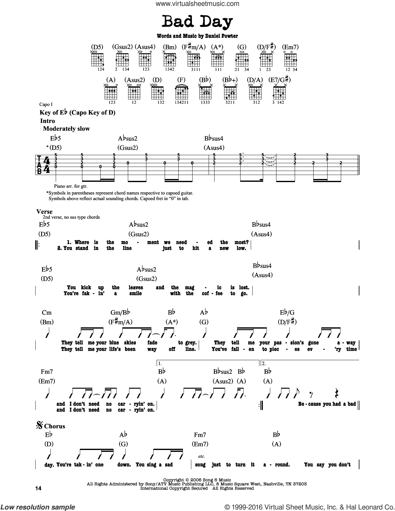 Bad Day sheet music for guitar solo (lead sheet) by Daniel Powter. Score Image Preview.