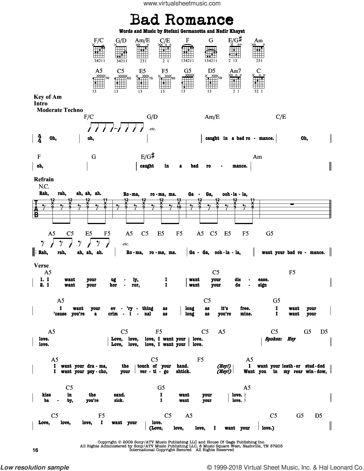 Bad Romance sheet music for guitar solo (lead sheet) by Lady Gaga. Score Image Preview.