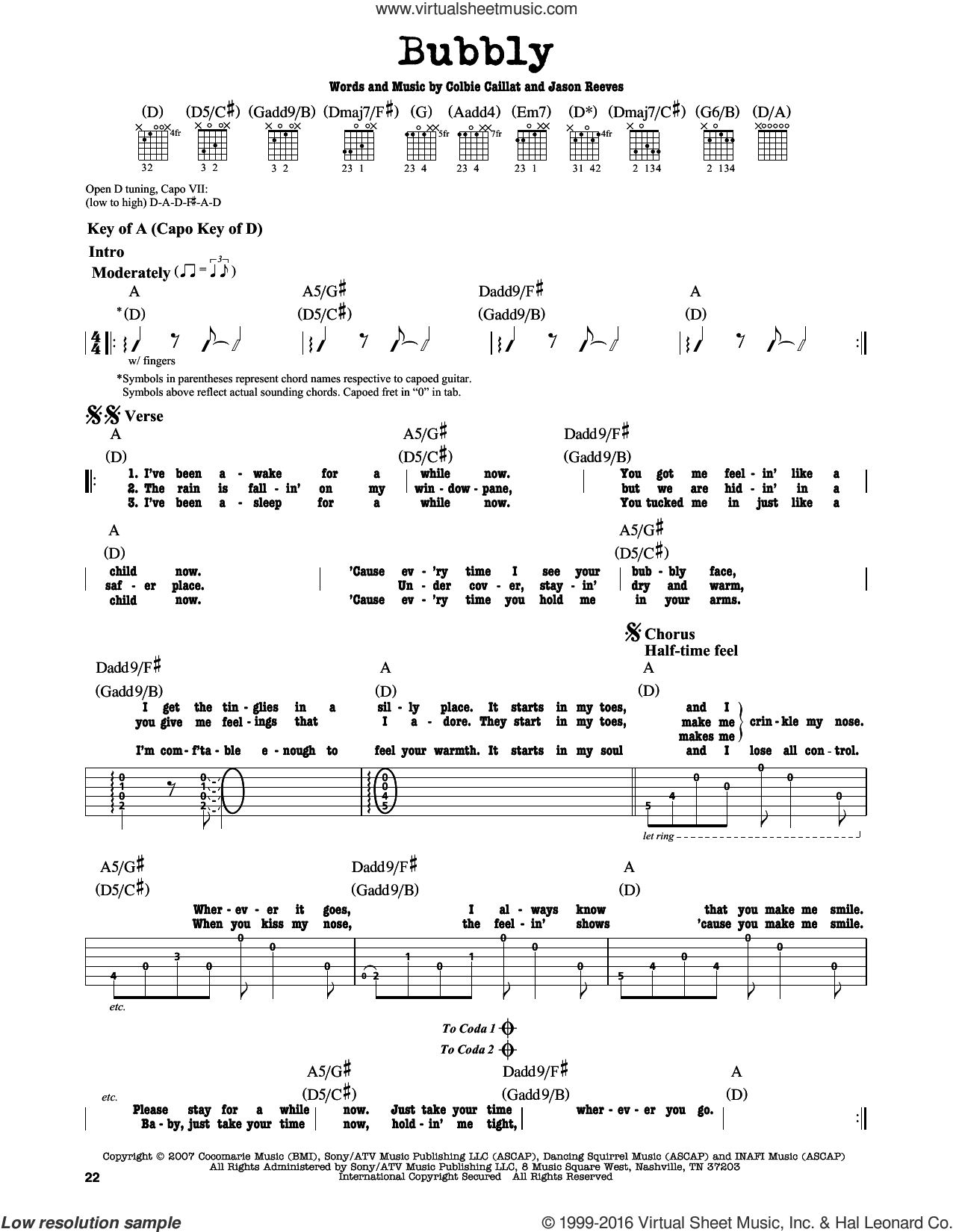Bubbly sheet music for guitar solo (lead sheet) by Jason Reeves and Colbie Caillat. Score Image Preview.