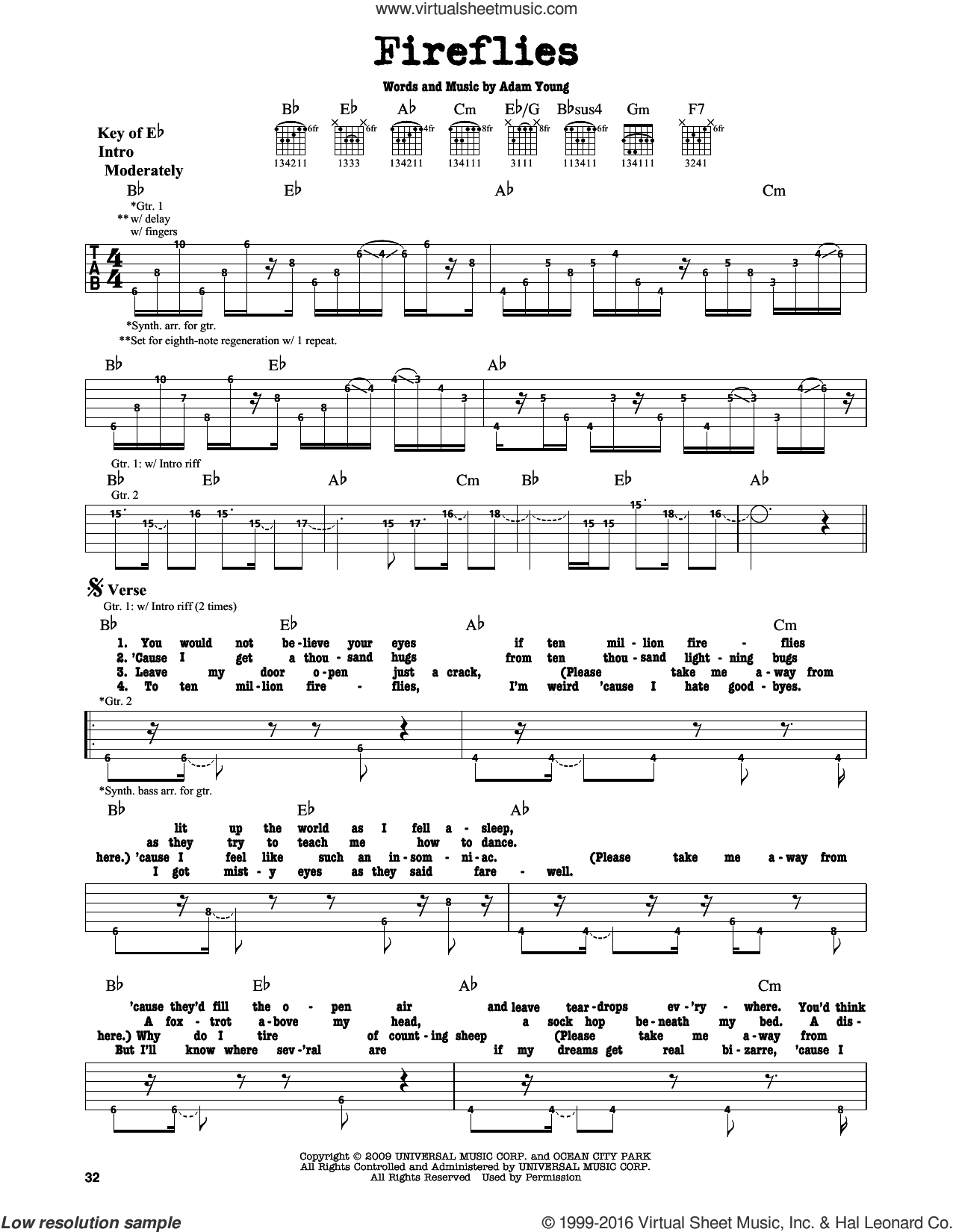 Fireflies sheet music for guitar solo (lead sheet) by Adam Young and Owl City. Score Image Preview.