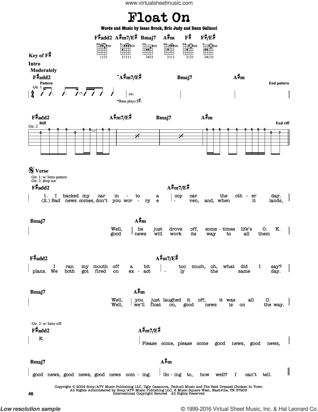 Float On sheet music for guitar solo (lead sheet) by Modest Mouse, Dann Gallucci, Eric Judy and Isaac Brock, intermediate guitar (lead sheet)