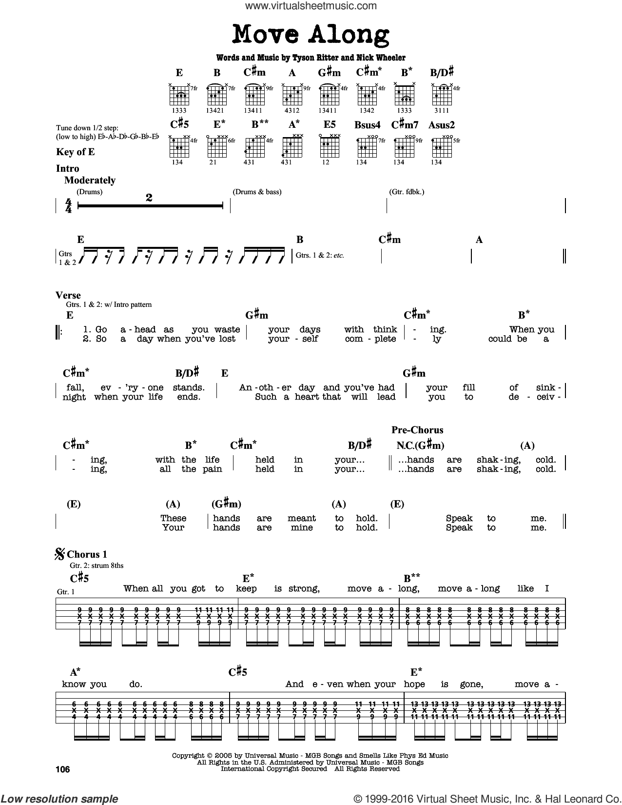 Move Along sheet music for guitar solo (lead sheet) by The All-American Rejects. Score Image Preview.