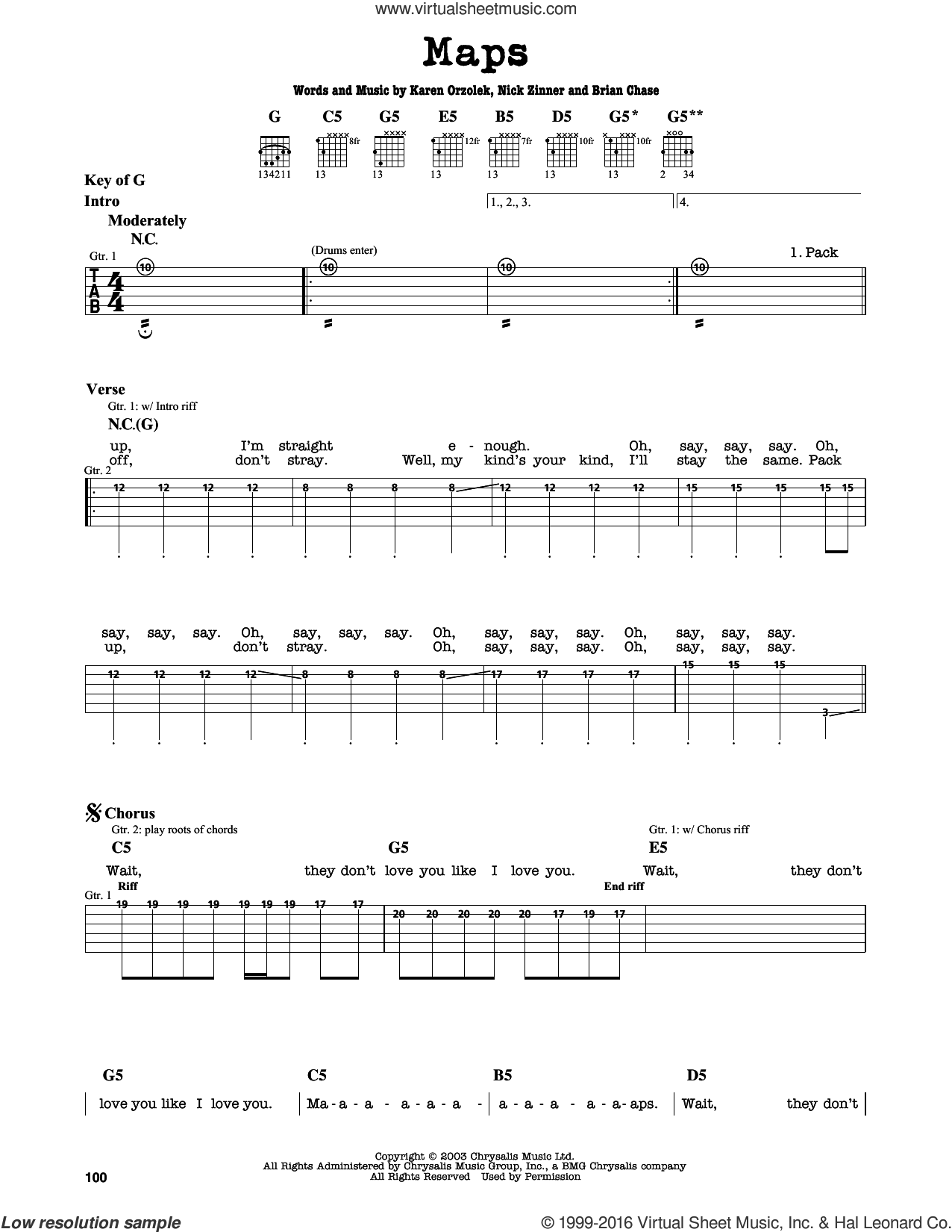 Maps sheet music for guitar solo (lead sheet) by Nick Zinner, Yeah Yeah Yeahs and Brian Chase. Score Image Preview.
